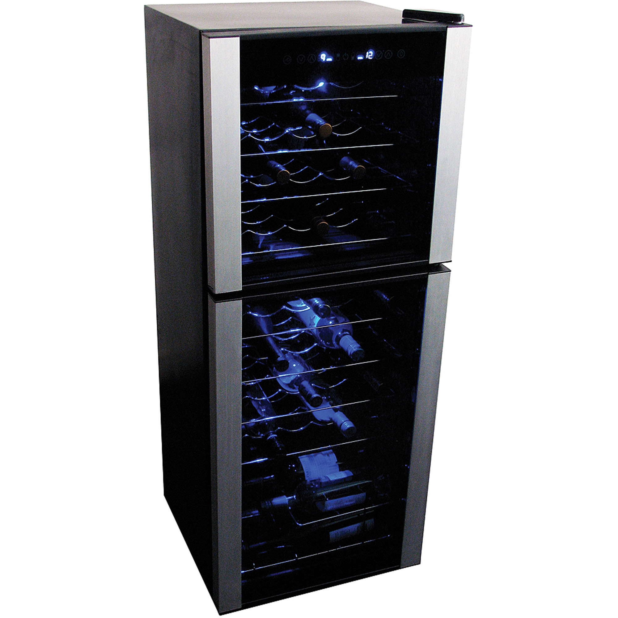Koolatron Elite Series 45 bottle Dual Zone Wine Fridge WC45, Stainless steel trim
