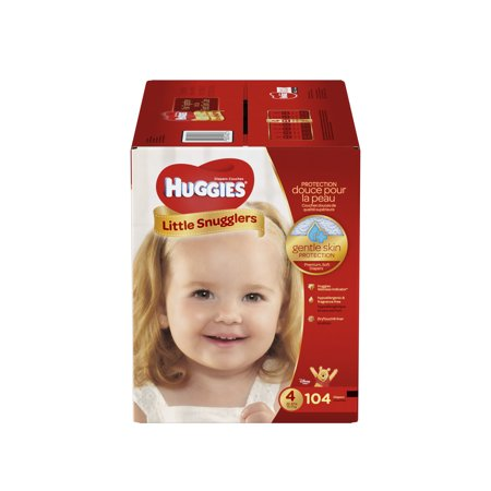 HUGGIES Little Snugglers Diapers, Size 4, 104 (Huggies Little Snugglers Plus Size 2 174 Count)