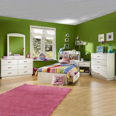 South Shore Logik Kids Pure White Twin Wood Mates Storage Bed 4 Piece Bedroom (Logik Twin Mates)