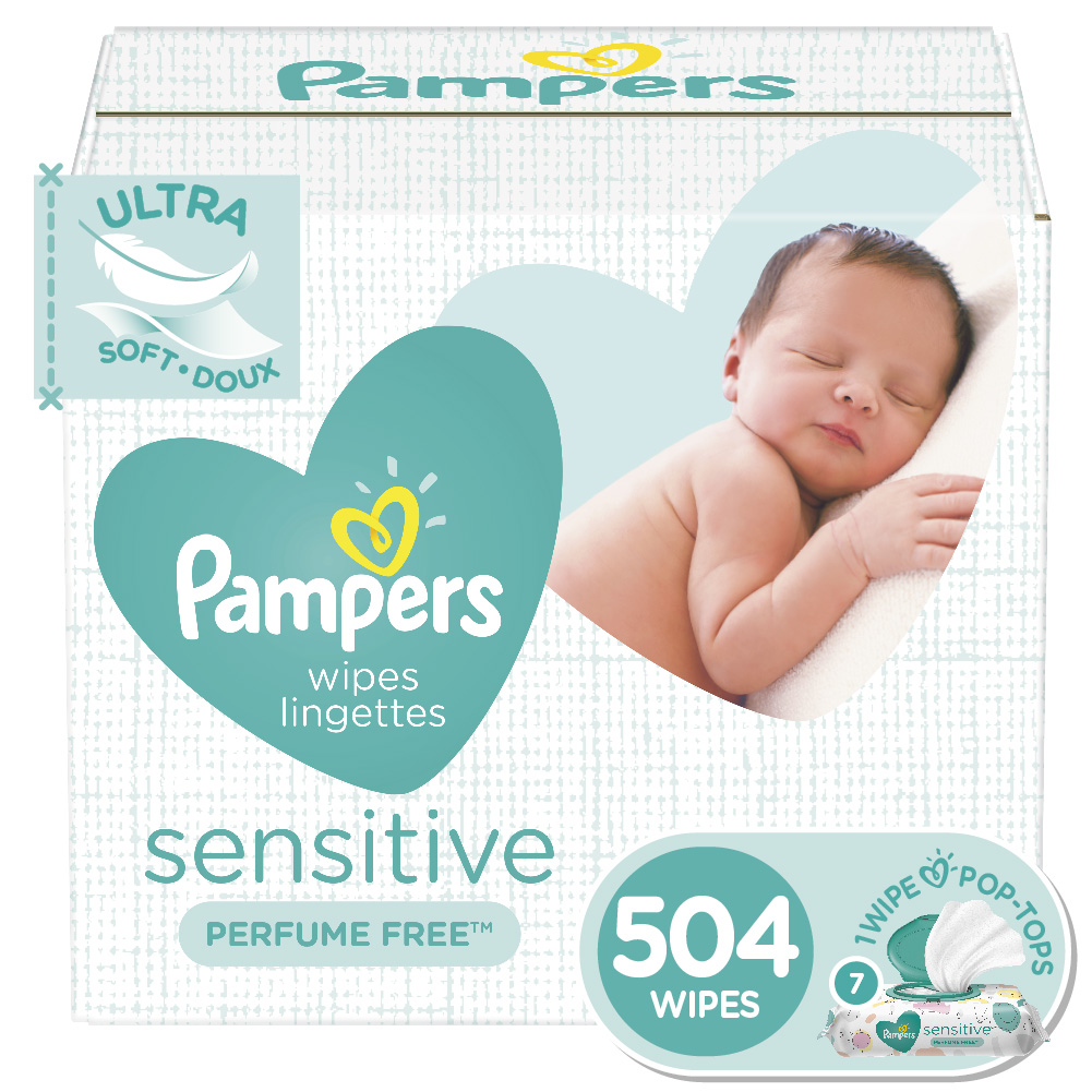 Pampers Sensitive Baby Wipes, 7X Pop-top Packs, 504 Ct