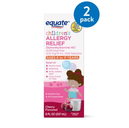 Equate Children's Allergy Relief, Cherry, 8 Fluid Ounces