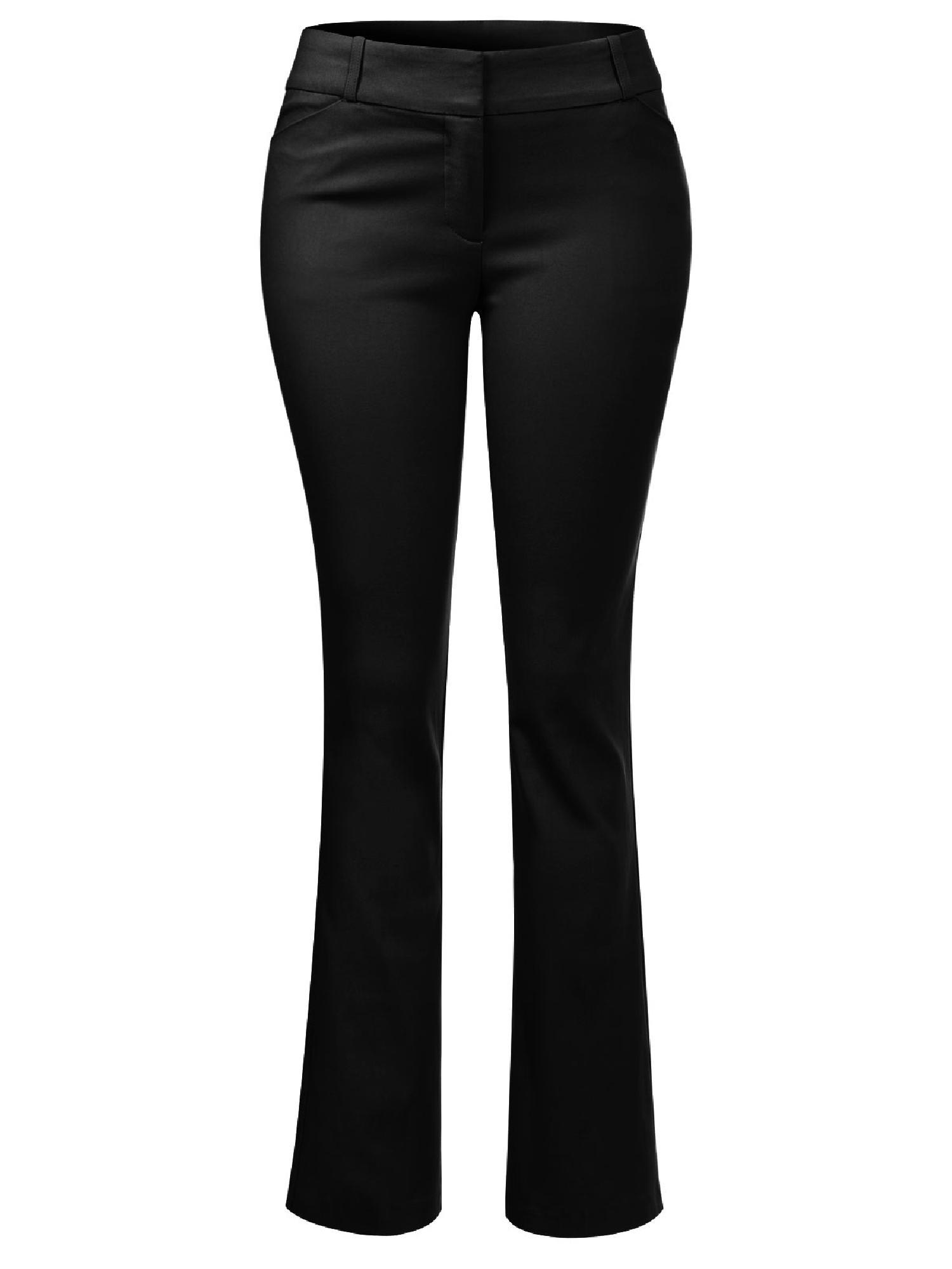 6e8eaae782d Made by Olivia - Made by Olivia Women's High Waist Comfy Stretchy Bootcut  Trouser Pants Black 3XL - Walmart.com