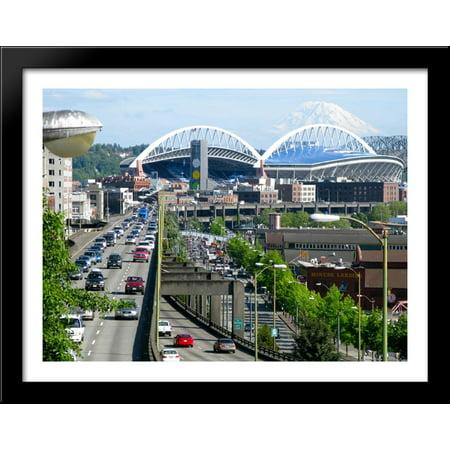 Centurylink Field 36X28 Large Black Wood Framed Print Art   Home Of The Seattle Seahawks