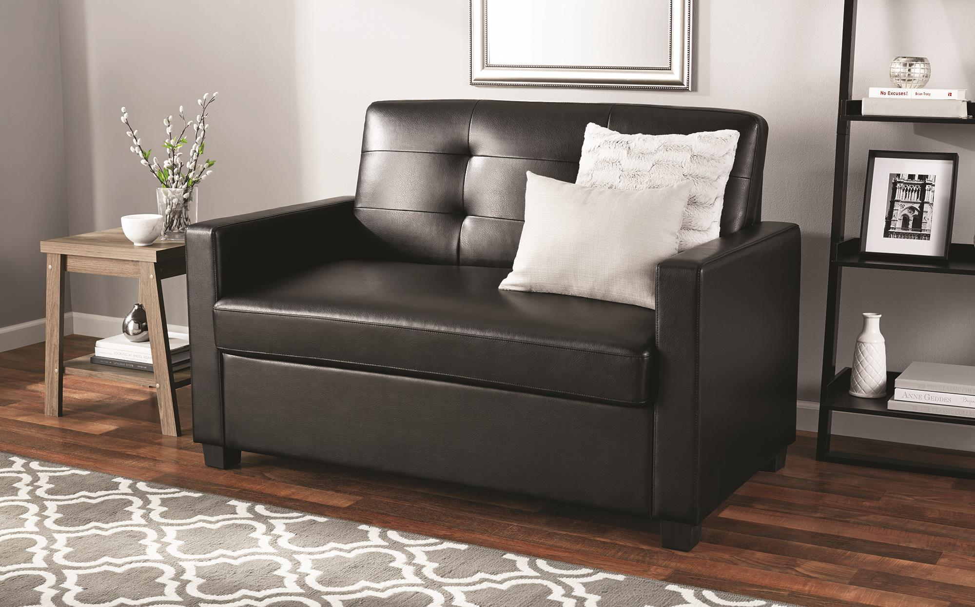 Good Mainstays Sleeper Loveseat With Memory Foam Mattress, Multiple Colors