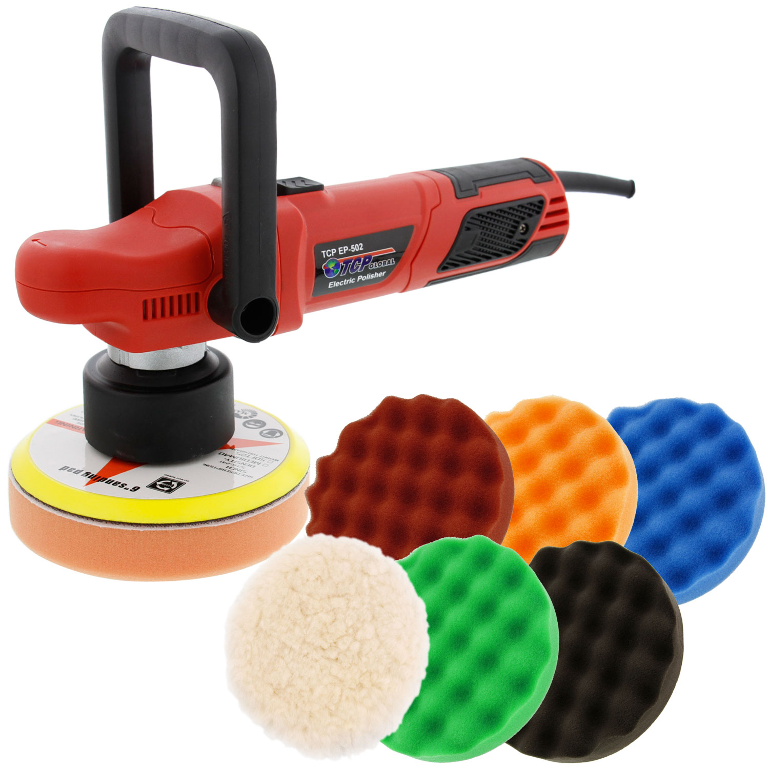 "6"" Variable Speed Random Orbit Dual-Action Polisher with a 6 Pad (Waffle Foam & Wool) Buffing and Polishing Kit - Buff"