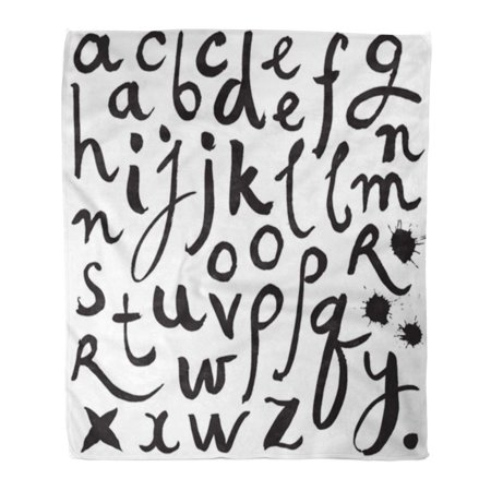 KDAGR Flannel Throw Blanket Spray Black Paint Alphabet Letters of The Written Brush Soft for Bed Sofa and Couch 50x60 Inches