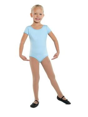 Danshuz Light Blue Short Sleeve Cotton Dance Leotard Girls 2-14