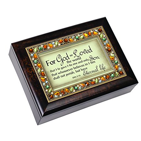 Cottage Garden for God so Loved The World John 3:16 Italian Style Burlwood Finish Decorative Jewel Lid Musical Jewelry Box - Plays On Eagle's Wings - image 1 of 1