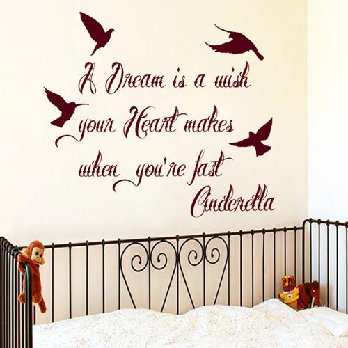 Quotes A Dreem Is A Wish Your Heart Makes When You're Fast Asleep Wall Art Sticker Decal Red