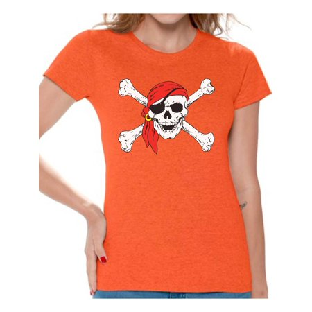 Awkward Styles Women's Jolly Roger Skull Graphic T-shirt Tops Day of Dead Pirate Skull](Pirate Clothes For Women)