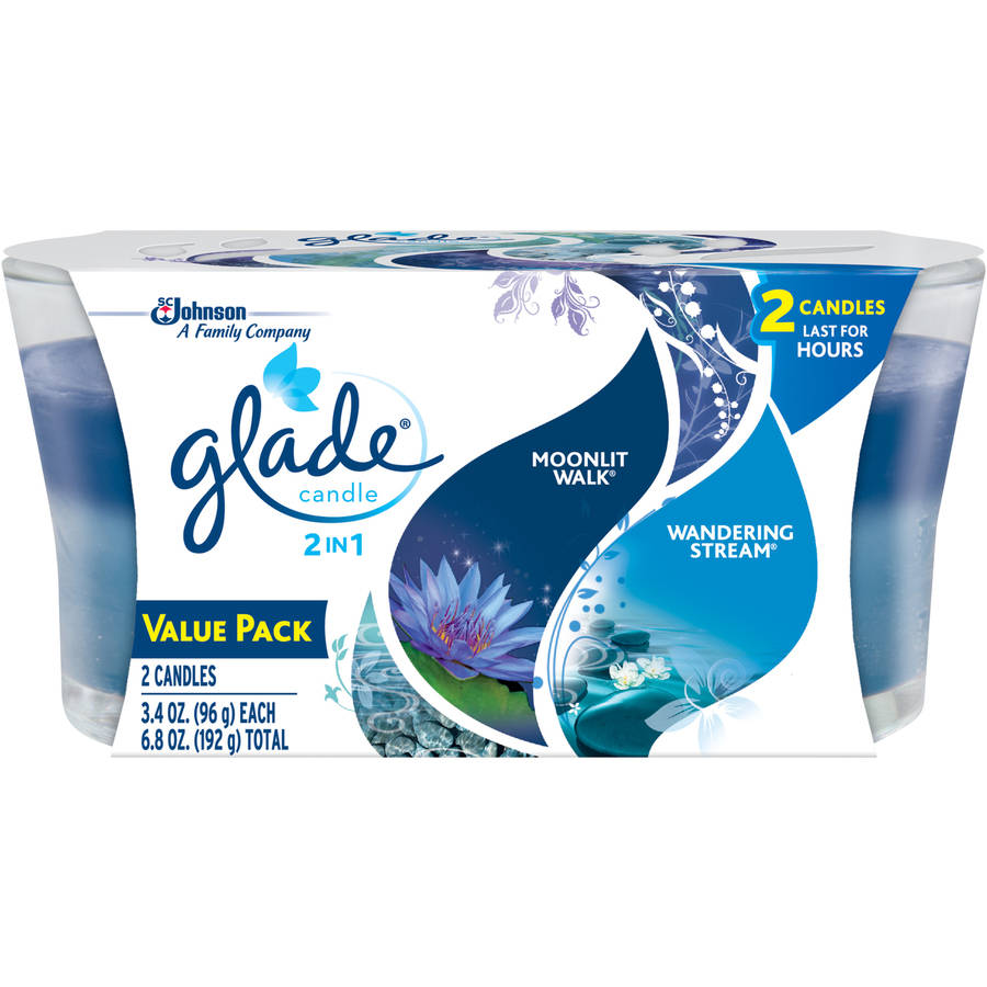Glade 2in1 Moonlit Walk and Wandering Stream Candle Air Freshener, 3.4 oz, 2 count