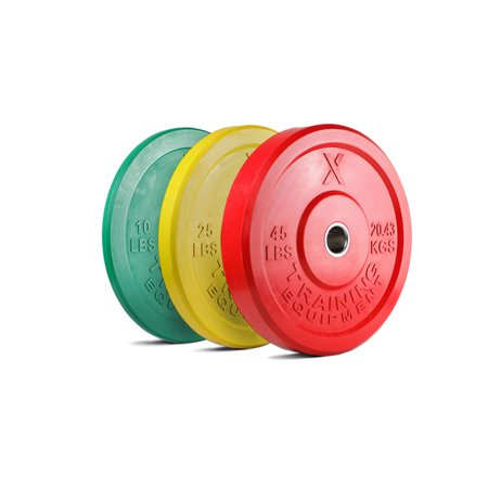 X Training Equipment Premium Color Bumper Plate Solid Rubber with Steel Insert - Great for Crossfit Workouts (Set: