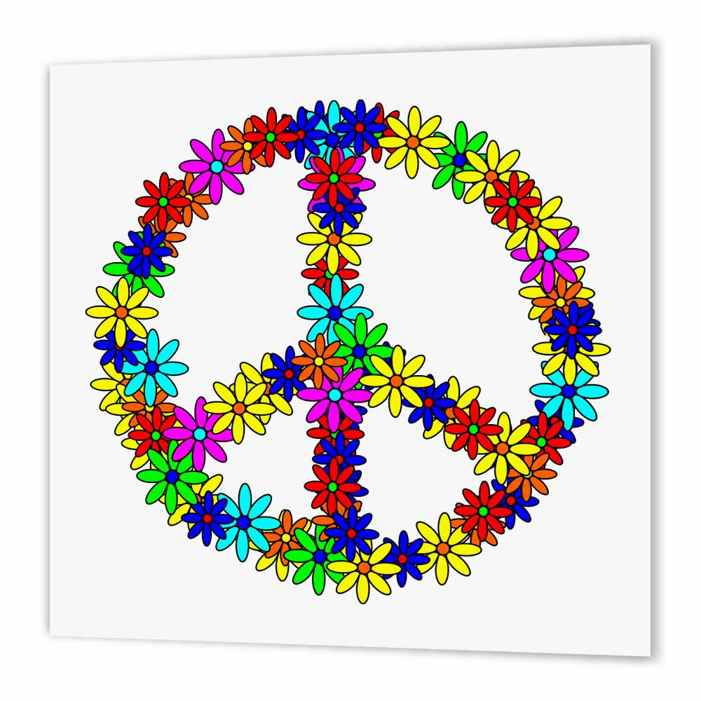 3dRose Peace Sign Flower Power Design, Iron On Heat Transfer, 8 by 8-inch, For White Material