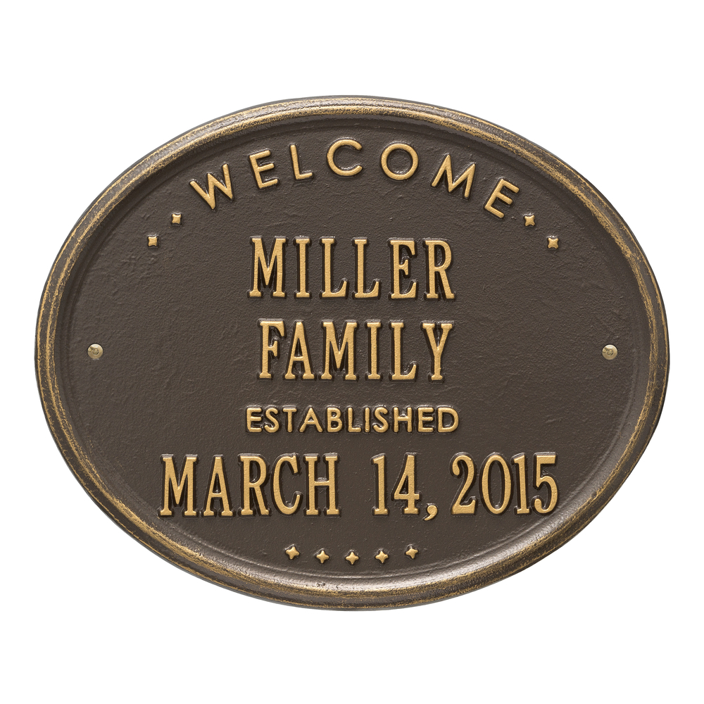 Personalized Whitehall Products Welcome House Plaque in Antique Copper Finish
