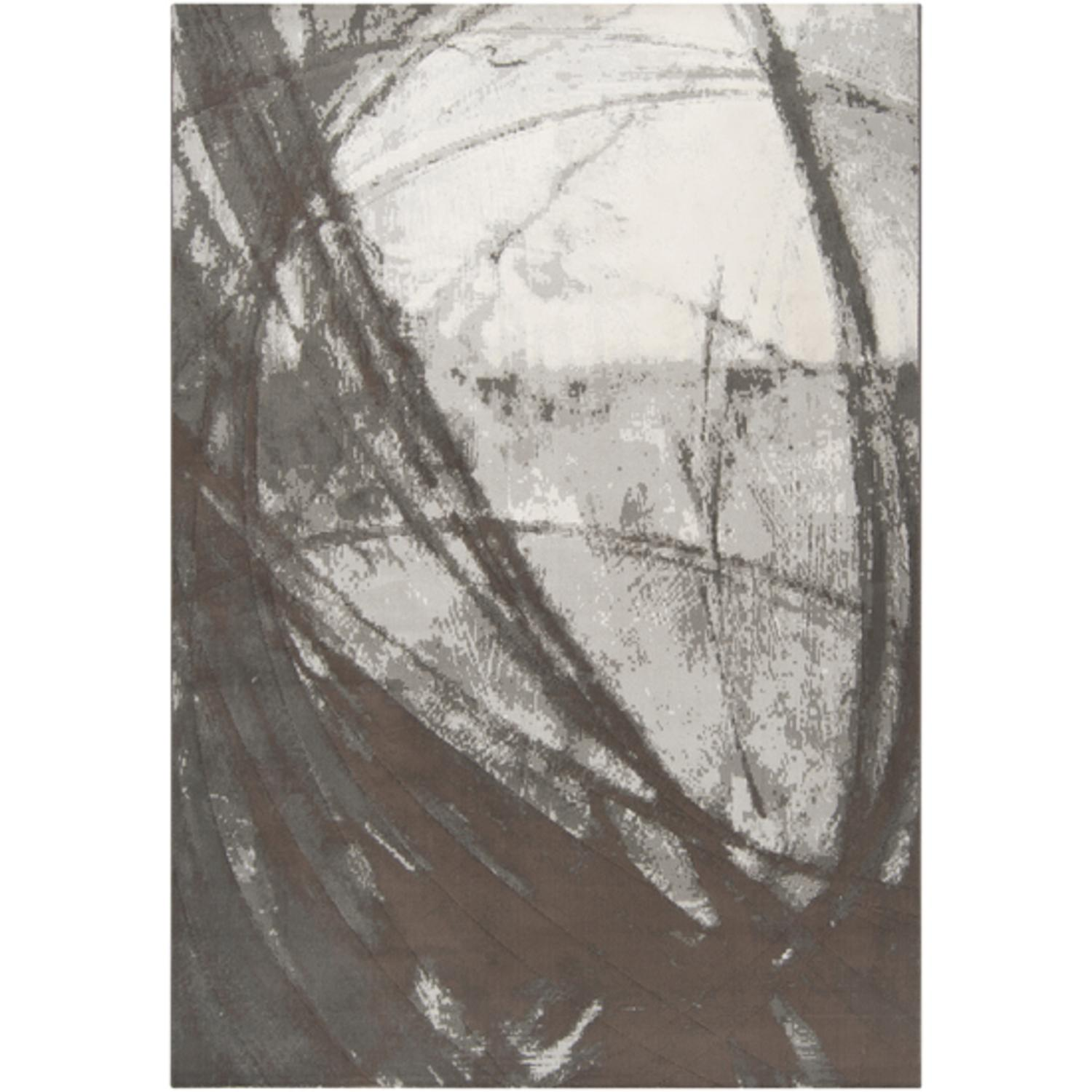 2' x 3' Abstract Contours Brindle and Black Olive Rectangle Area Throw Rug