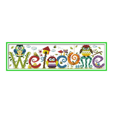 Decdeal 22.8 * 6.7 inches The Owl Welcome Card Pattern Cross Stitch Kit with Pre-printed 14CT Canvas Cloth & Cotton Thread Embroidery Cross-Stitching Needlework Home Wall Decor (Needlework Cards)