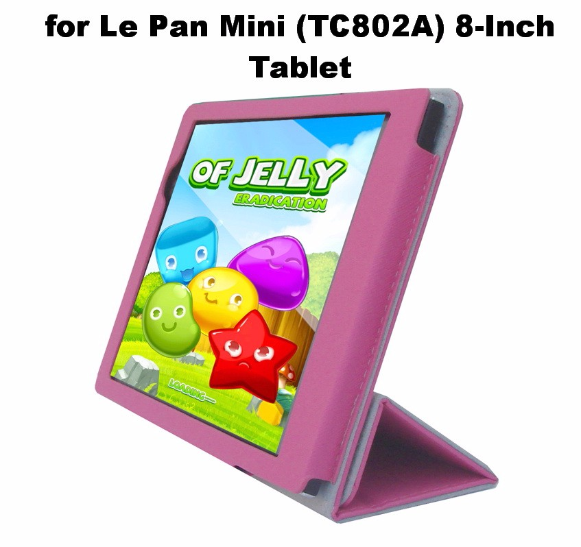 Pink Portfolio Leather Case Cover With Built In Stand Custom Fit For Le Pan Mini Tc802a 8 Inch Tablet Walmart Com Walmart Com