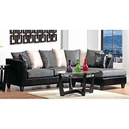 Casual Modern Small Living Room Furniture Sectional Sofa Set Gray  Microfiber Sofa Chaise Cushion Couch