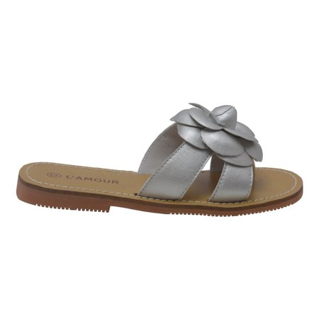 L'Amour Girls Silver Flower Accent Thong Trendy Sandals 7-10 Toddler