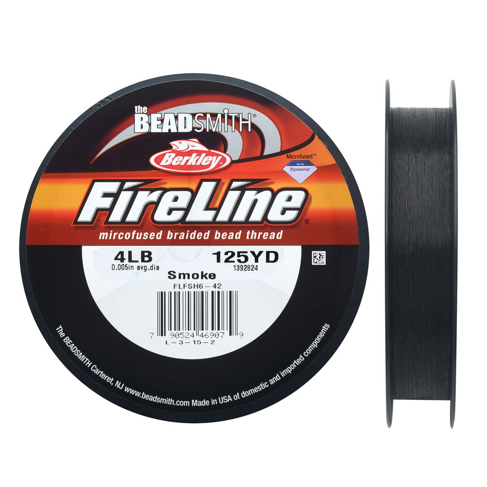 FireLine Braided Beading Thread, 4lb Test and 0.005 Thick, 125 Yards, Smoke Gray
