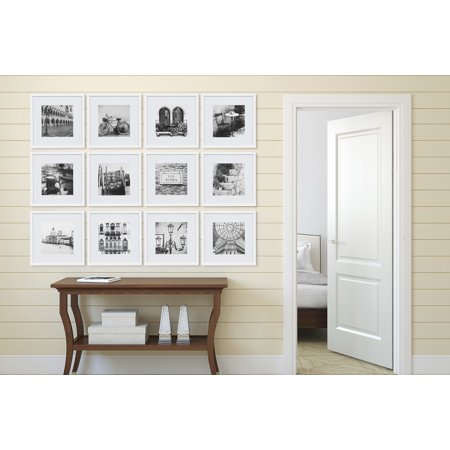 12 Piece 12x12 White Frame Kit, matted to 8