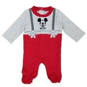Disney Baby Infant Boys Gray/Red Mickey Mouse Sleep & Play Pajama Sleeper