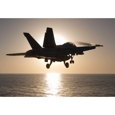 An FA-18F Super Hornet takes off into the morning Sun over the Arabian Sea Poster Print by Gert KromhoutStocktrek