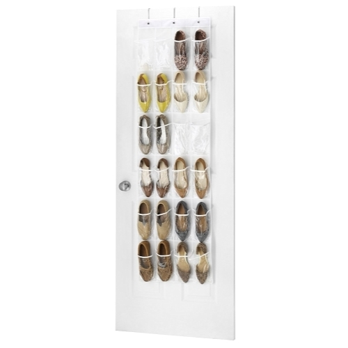 Clear Over The Door Shoe Organizer   24 Stitch Secured Pockets, Hanging  Closet Organizer