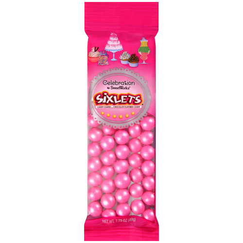Celebration Shimmer Pink Sixlets Candy, 1.75 oz