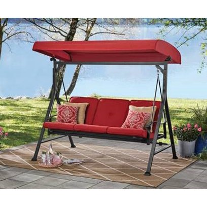 Mainstays Belden Park 3-Person Outdoor Patio Daybed Swing with Canopy