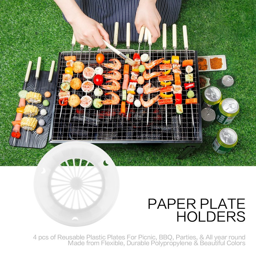 4 pcs Plastic Paper Plate Holders Reusable 3-tab Style ...