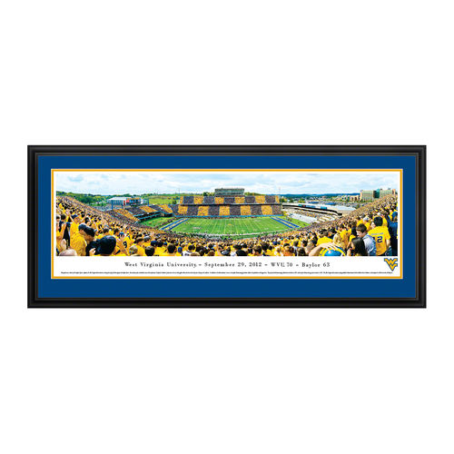 "West Virginia Mountaineers 18"" x 44"" Stripe Deluxe Framed Panoramic Wall Art"