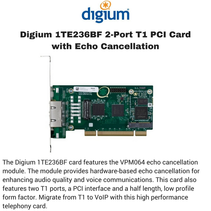 Digium 1TE236BF 2-Port T1 PCI Card with Echo Cancellation