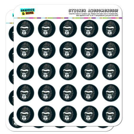 "Gorilla Face 1"" Planner Calendar Scrapbooking Crafting Opaque Stickers"