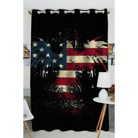 GCKG Abstract Bald Eagle American Flag the U.S Flag Stars and Stripe Flag Blackout Curtains Window treatment Panel Drapes 52(W) x 84(H) inches (One Piece)