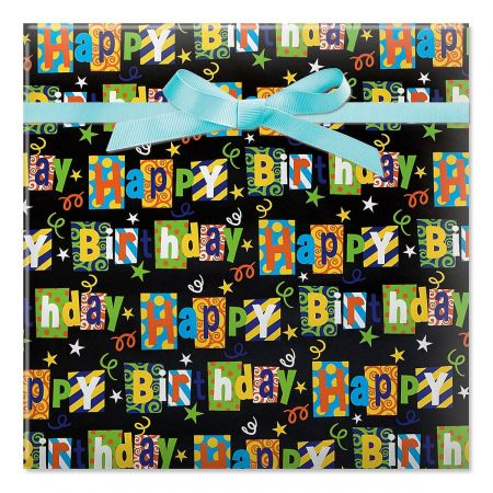 Black Birthday Party Jumbo Rolled Gift Wrap - 72 sq ft.
