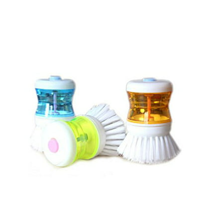 3 PCS Kitchen Wash Tool Pot Dish Bowl Palm Brush Scrubber Cleaning Cleaner Gadget, Good Grips Soap Dispensing Palm