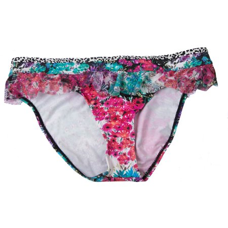 Kenneth Cole Reaction Women's Swimsuit Bottom Multi Color Floral And Animal Print Hipster
