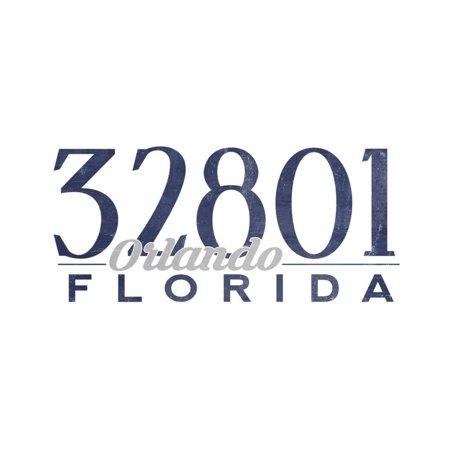 Orlando, Florida - 32801 Zip Code (Blue) Print Wall Art By Lantern