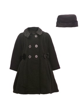 Good Lad Little Girls Black Side Bow Accent Hat Double Breasted Coat