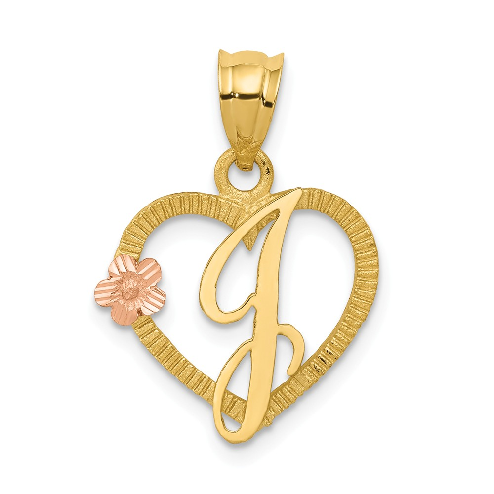 14k Two Tone Gold Initial J in Heart Charm Pendant
