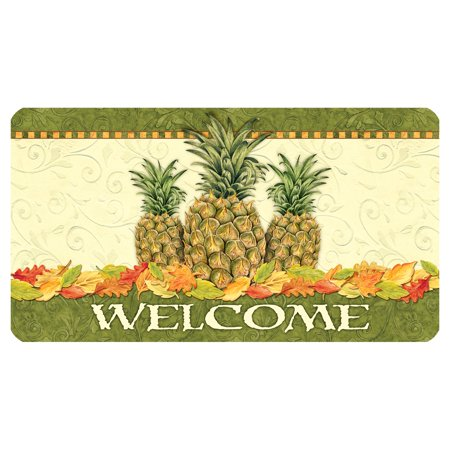 Toland Home Garden Pineapple Leaf Welcome Doormat - Polyester / Rubber
