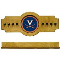 NCAA Virginia Cavaliers UVACRR300-O 2 pc Hanging Wall Pool Cue Stick Holder Rack - Oak