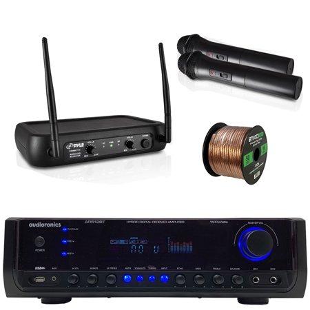 Audioronics 1500 Watt Hybrid Digital Stereo Receiver Amplifier, Enrock 16 Gauge 50 Foot Speaker Wire, Dual Channel VHF Wireless Microphone System