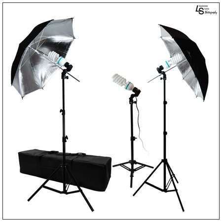600W 3x 45W Double Black Silver Photography Reflector Umbrella Lighting Kit with Three Stands and Carry Case by Loadstone Studio WMLS0161