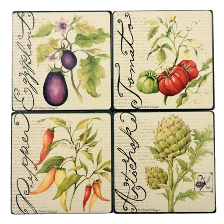 Silver Wine Coaster (Tumbled Tile Coasters Set of 4-Silver Fever- Coffee Cup Drinks Wine - Cork Back Non-Slip Coaster (Vegitable Garden))