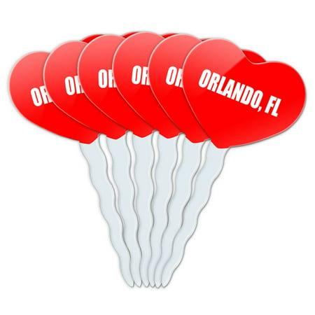 Orlando FL Heart Love Cupcake Picks Toppers - Set of (Pensacola Fl To Orlando Fl Driving Time)
