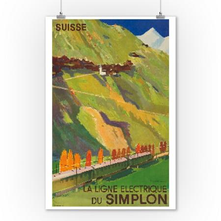 Suisse - Simplon Vintage Poster (artist: Jegerlehner) Switzerland c. 1950 (9x12 Art Print, Wall Decor Travel Poster) (1950 Decor)