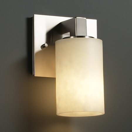 Justice Design  Group Clouds Modular 1-light Brushed Nickel Wall Sconce, Clouds Cylinder - Flat Rim Shade