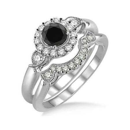 1.25 Carat Black Diamond Antique Flower Halo Bridal Set in 10k White Gold Wedding Ring Set for